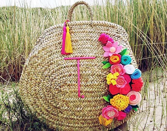 Strand tas met Initial - Snuggie Cotton